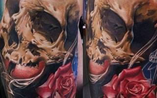 Тату череп с розой: значение, фото татуировок